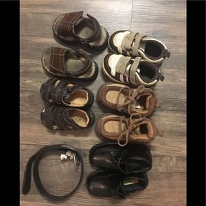 Lot of toddler boy shoes and belt. Size 5 and 6